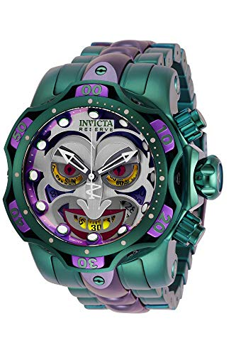 Invicta Men's DC Comics Quartz Diving Watch with Stainless Steel Strap, Purple, Green, 26 (Model: 30124)