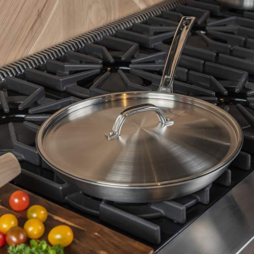 Viking Culinary 12' Non-Stick Fry Pan with Lid Professional 5-Ply, 12 Inch, Silver