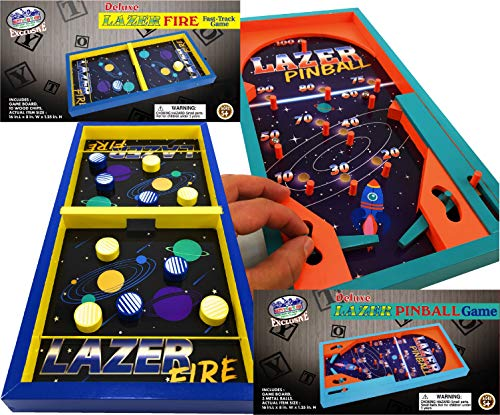 Matty's Toy Stop Deluxe Wood Tabletop Neon Lazer Space Pinball & Neon Lazer Space Fire Fast-Track Games Gift Set Bundle - 2 Pack