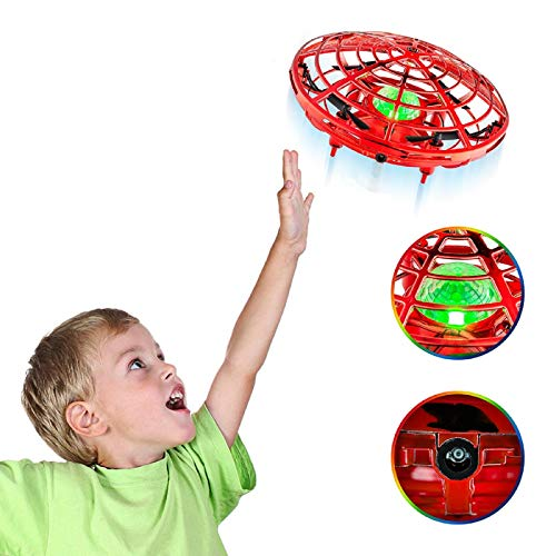 Mini Drone, Drones for Kids 8-12 Kids Mini UFO Easy Indoor or Outdoor Flying Ball Drones Toys, with 5 Upgraded Interactive Sensors and The Coolest LED Light, Toys for Boys Girls (Red)