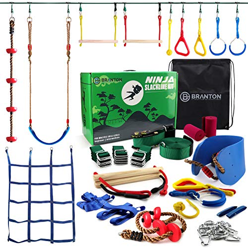Ninja Warrior Obstacle Course for Kids - Ninja Slackline 50' with 10 Accessories for Kids, Includes Swing, Obstacle Net Plus Grip Tape - Have Fun, Keep Fit and Become a Ninja Warrior - Ninja Line