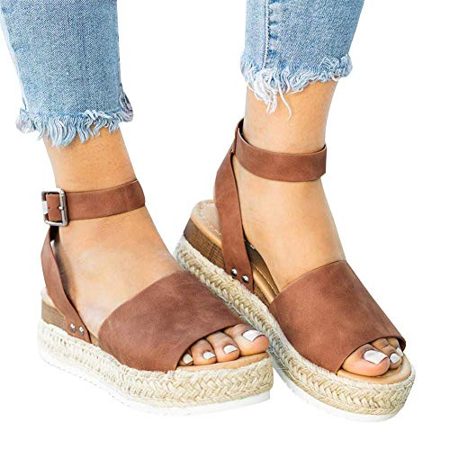 Cool Lightweight Cute Sandals for Women Casual Ankle Strap Open Toe Espadrille Platform Size 39