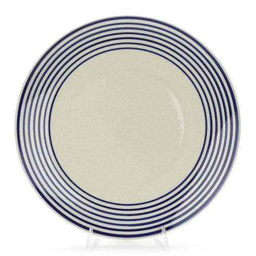Dinner Plate by Royal Norfolk, Stoneware, Blue Rings