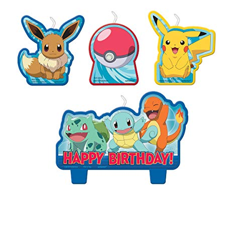 Amscan Pokemon Birthday Character Candle Set - 4 pcs, 172408