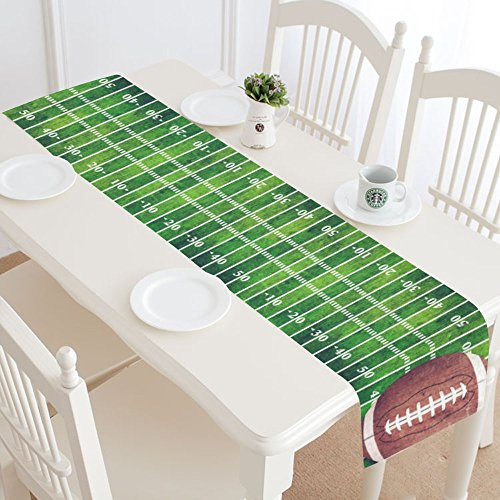 INTERESTPRINT American Football Table Runner Home Decor 14 X 72 Inch, Football Field Table Cloth Runner for Wedding Party Banquet Decoration