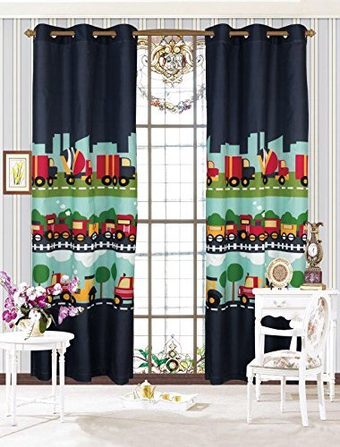 Linen Plus 2 Panel Curtain Set with Grommets for Teens Boys Girls New (Navy Blue Train Trucks)