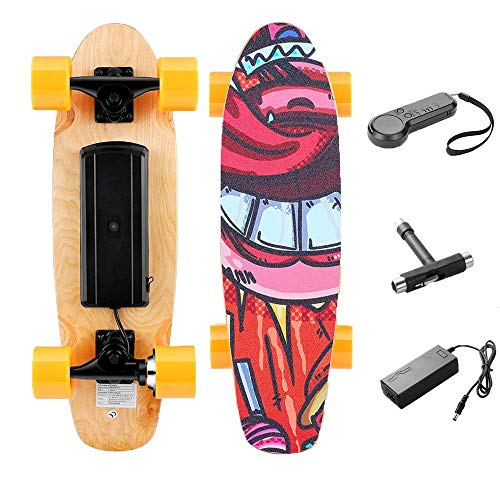 TEXXIS Mini Electric Skateboard with Remote, E- Skateboard 350W Motor, Max Speed 20km/h for Kids Teens and Adults