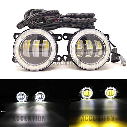 2Pcs White And Yellow LED Angel Eye Fog Light Lamp For Acura RDX 2010-up Acura TSX 2011-2014 Acura TL 2012-2014 Acura ILX 2013-2016