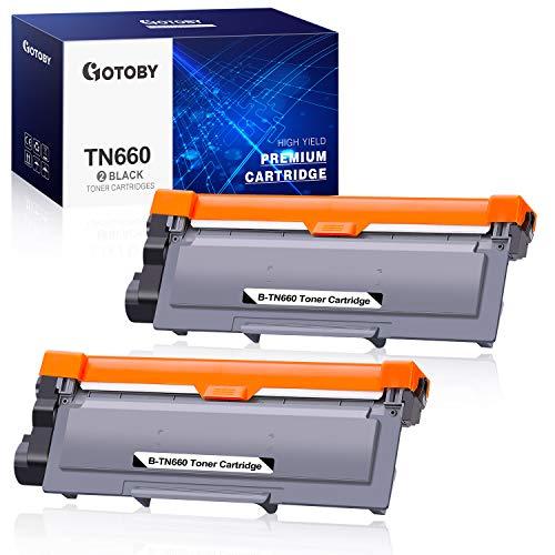 GOTOBY Compatible Toner Cartridge Replacement for Brother TN660 TN630 TN-660 TN-630 Work with HL-L2380DW HL-L2320D HL-L2300D HL-L2340DW MFC-L2700DW MFC-L2740DW DCP-L2540DW (Black, 2 Pack)