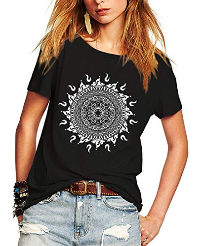 Romastory Womens Short Sleeve T-Shirts Fashion Print Relaxed Tops Tee Shirts (Black, Medium)
