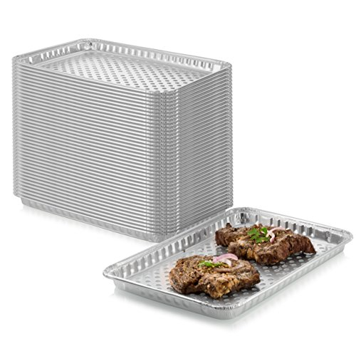 """24-Pack Disposable Aluminum Foil BBQ Grill Topper Pan – Prevents Food from Falling into the Grill or Sticking to the Grate – No Clean Up Required – Perfect for Camping and Outdoor Use - 15"""" x10"""" x1.5"""""""