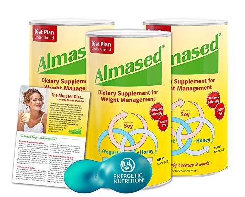Almased Diet Kit – 3 cans Almased Multi-Protein Powder (17.6 oz ea) bundled with 1 Energetic Multi-measure Scoop (4 items)