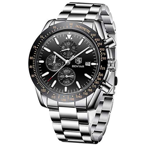 BENYAR Chronograph Wrist Watch for Men | Classic Design | Quartz Movement 30M Waterproof | Analog Quartz Watch | 22mm Stainless Steel | Scratch Resistant | Available in Black Color