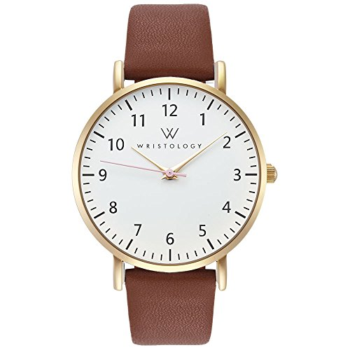 WRISTOLOGY Olivia Womens Watch Numbers Gold Boyfriend Ladies Brown Leather Strap Band