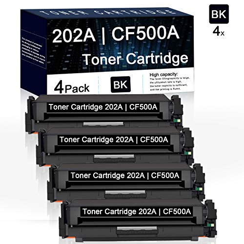 4 Pack Black 202A | CF500A Compatible Toner Cartridge Replacement for HP Color Laserjet Pro MFP M280nw M281fdn Pro M254nw M254dw Printers.