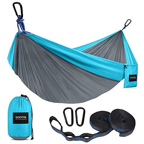 Kootek Camping Hammock Double & Single Portable Hammocks with 2 Tree Straps, Lightweight Nylon Parachute Hammocks for Backpacking, Travel, Beach, Backyard, Patio, Hiking (Grey & Sky Blue, Large)