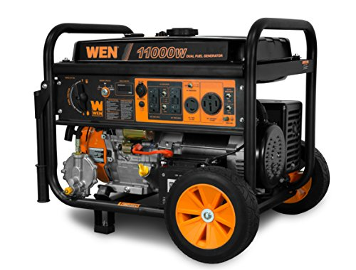 WEN DF1100 11,000-Watt 120V/240V Dual Fuel Portable Generator with Wheel Kit and Electric Start - CARB Compliant,Black