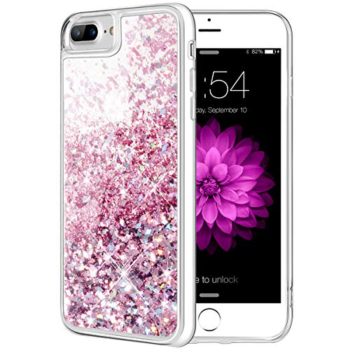 Caka iPhone 8 Plus Case, iPhone 7 Plus Glitter Case Flowing Luxury Bling Glitter Sparkle Liquid Floating Soft TPU Case for iPhone 7 Plus 8 Plus (5.5 inch) (Rose Gold)