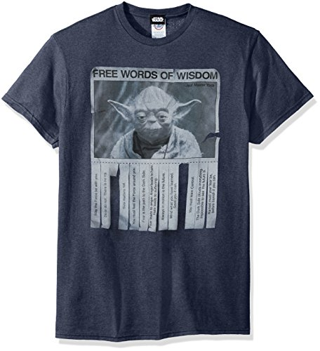 Star Wars Men's Words Of Wisdom T-Shirt, Navy Heather, Medium