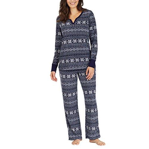 Nautica Womens 2 Piece Fleece Pajama Sleepwear Set (XX-Large, Navy Fair Isle)