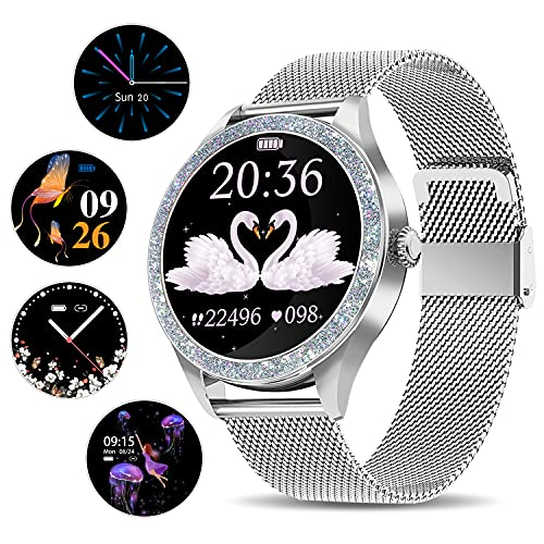 Smart Watch for Women, ANYTEC Fitness Tracker Smartwatch Bluetooth Compatible with Android iPhone, Slim Stainless Steel Ladies Watches (Silver)