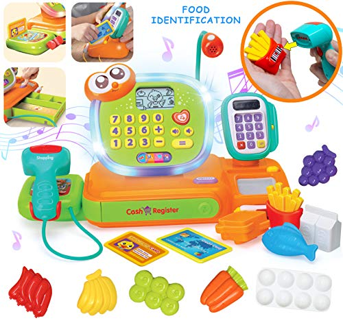 JOYIN Smart Cash Register Pretend Play Cashier with Scanner, Microphone, Play Money and Grocery Toy for Kid Boys Girls, Toddler Interactive Learning, Educational,, Christmas Stocking Stuffers