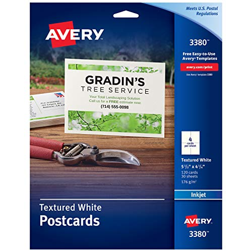 Avery Printable Cards, Inkjet Printers, 120 Cards, 4.25 x 5.5, Heavyweight, Textured (3380),White