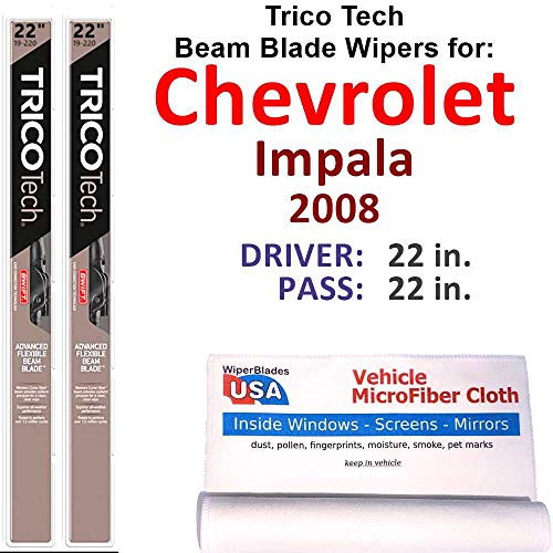 Beam Wiper Blades for 2008 Chevrolet Impala Set Trico Tech Beam Blades Wipers Set Bundled with MicroFiber Interior Car Cloth