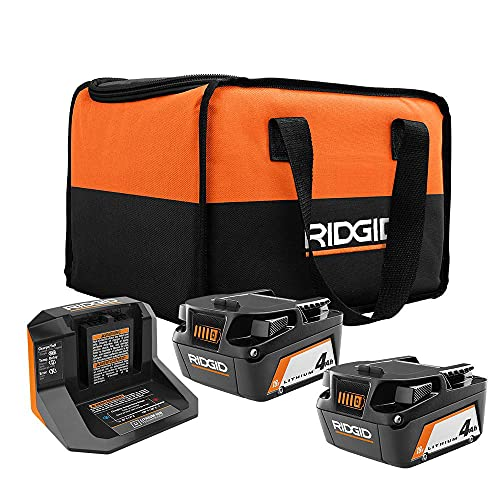RIDGID 18-Volt Lithium-Ion Battery and Charger Starter Kit, (2) 4.0 Ah Battery and Charger