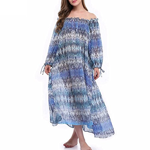 Sexy Panyan Womens Summer Chiffon Swimwear Cover up Long Maxi Off Shoulder Beach Dress As Pictured S