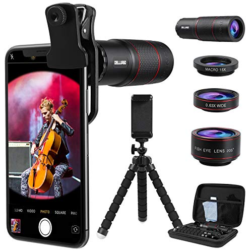Monocular Telescope 20X Telephoto Lens Kit for Smartphone Phone Camera Lens 205° Fisheye Lens 15X Macro Lens 0.63X Wide Angle Lens with Tripod Travel Case Compact Monocular for Bird Watching/Concert