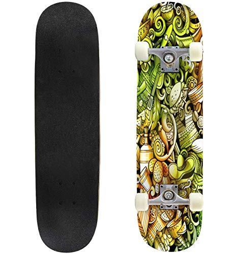 Latin America Hand Drawn Doodle Banner Cartoon Detailed Flyer Skateboard 31'x8' Double-Warped Skateboards Outdoor Street Sports Skateboard for Beginners Professionals Cool Adult Teen Gifts