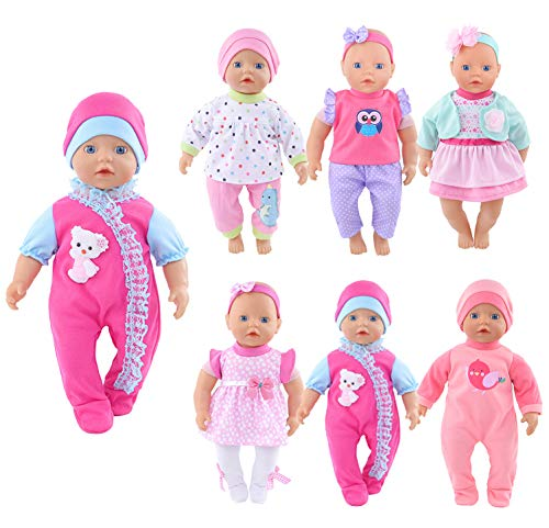 josy Sweet 6 Lot Doll Clothes Playtime Outfits Rompers for 10'-12'-13' Dolls Like 10-inch Baby Dolls /12-inch Alive Baby Dolls/ New Born Baby Dolls