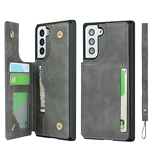 Jaorty Galaxy S21 Plus 5G Credit Card Holder Case,Cash Slots,Double Magnetic Buttons Stand Function Soft TPU Back Wallet Case Flip Wrist Strap PU Leather Case for Samsung Galaxy S21 Plus 5G 6.7',Gray