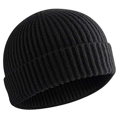 choshion 50% Wool Short Knit Fisherman Beanie for Men Women Winter Cuffed Hats,Black