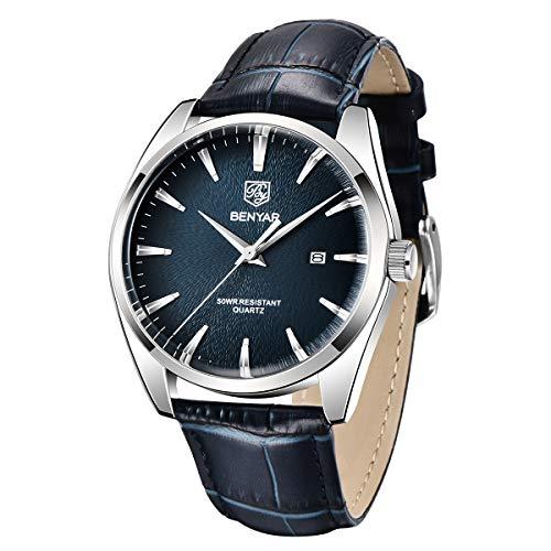 BY BENYAR - Stylish Wrist Watch for Men, Genuine Leather Strap Watches Quartz Movement, Waterproof Analog Business Watches