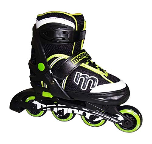 Mongoose Adjustable Inline Skates- Green, Green/Gray/Black, Size 5-8 (Renewed)