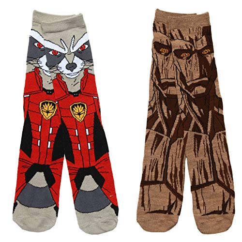 Guardians of the Galaxy Groot & Rocket 2-pack Adult Crew Socks