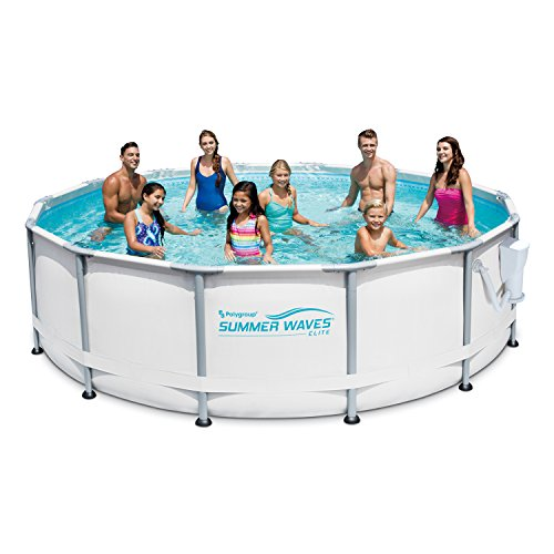 Summer Waves Elite 14' x 42' Premium Frame Above Ground Swimming Pool with Filter Pump System And Deluxe Accessory Set