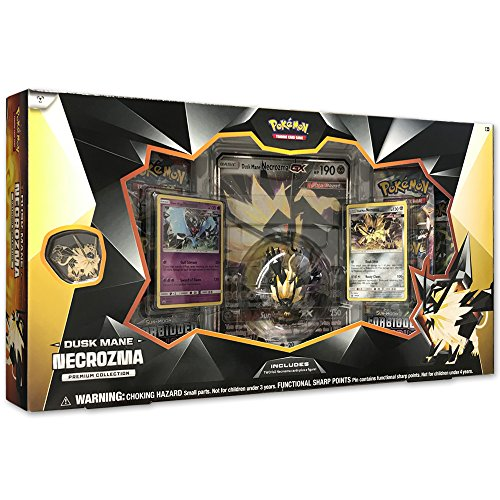 Pokemon TCG: Dusk Mane Necrozma Premium Collection  Pokemon Card and Figurine Set  Features 2 Foil Promo Cards, 5 Booster Packs, Oversize Necrozma GX Card, Action Figure, Pin & Online Code Card
