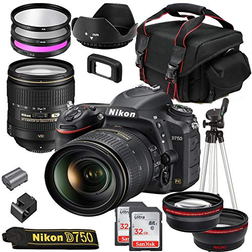 Nikon D750 DSLR Camera with 24-120mm VR Lens + Deluxe Starter Bundle Including 2 32GB Sandisk SD Memory Cards, Wide Angle and Telephoto Lens, Gadget Bag Plus More