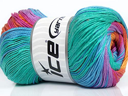 Lot of 4 x 100gr Skeins Ice Yarns CAMILLA COTTON MAGIC (100% Mercerized Cotton) Yarn Blue Mint Green Fuchsia Orange Lilac Copper
