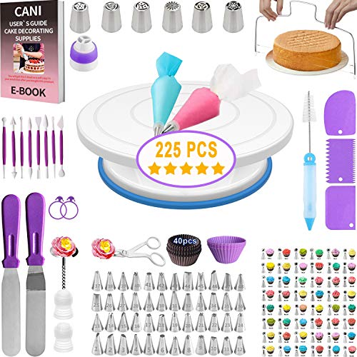 Cani 225 PCS Cake Decorating tools-kit with Rotating Cake Turntable Stand 54 Numbered Piping Tips Set with Pattern Chart 2 Cake Spatulas Fondant tools Cake Baking-Decorating Supplies for Beginners