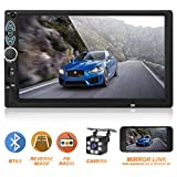 Double Din Car Stereo,Upgraded Version 7 Inch Touch Screen Car MP5 Player Support Backup Rear View Camera FM Radio Car Audio with Hands-Free Mirror Link