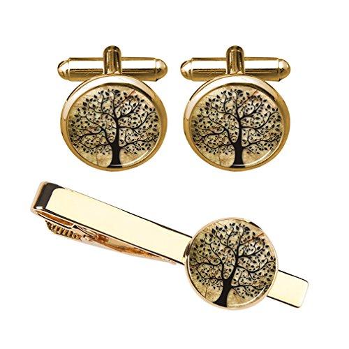 ZUNON Tree of Life Cufflinks & Tie Clip Vintage Natural Tree Groom Groomsmen Mens Gift with Jewelry (Gold Cufflink Tieclip Set)