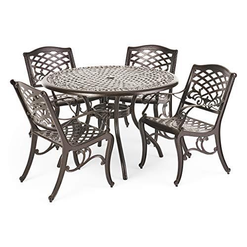 Christopher Knight Home Hallandale Outdoor Cast Aluminum Dining Set for Patio or Deck, 5-Pcs Set, Black