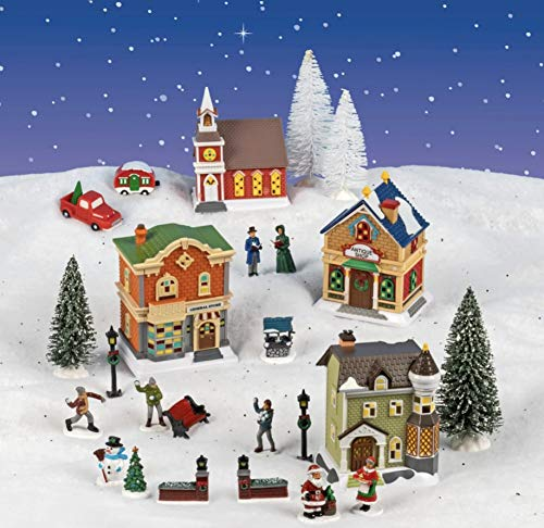 Cobblestone Corners 2019 Christmas Village Collection - The Entire Collection in one Box - 28 Pieces Total
