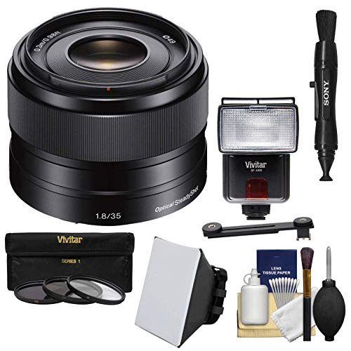 Sony Alpha E-Mount 35mm f/1.8 OSS Lens with Flash + Soft Box + Diffuser + 3 Filters Kit for A7, A7R, A7S Mark II, A5100, A6000, A6300 Cameras