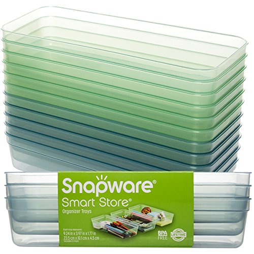 Snapware (12 Pack) Smart Store Container Organizer Tray Plastic Stackable Storage Tray For Kitchen