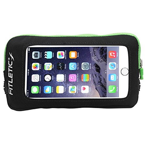 Fitletic SmartCase Phone Add On for iPhone 6 and Galaxy Note 5, Black/Green Zipper